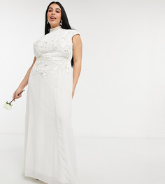 Свадебное платье макси цвета слоновой кости с вырезом-каплей на спине, цветочной вышивкой и отделкой бисером Hope & Ivy Plus-Белый