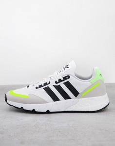 Бело-черные кроссовки adidas Originals ZX 1K Boost-Белый