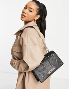 Черная сумка на плечо Love Moschino-Черный цвет