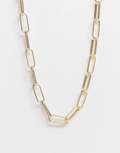 Эксклюзивное золотистое ожерелье с широкими переплетенными звеньями DesignB London Curve-Золотистый