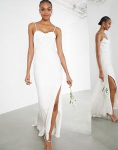 Свадебное платье с отделкой на кружевном корсете и атласной юбкой ASOS EDITION Scarlet-Белый