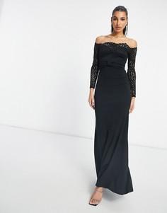 Черное кружевное платье макси с вырезом лодочкой и юбкой годе Goddiva-Черный