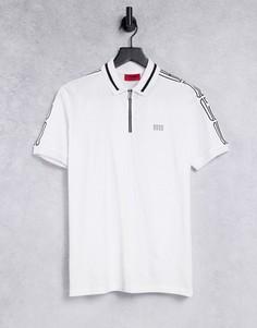 Белая футболка-поло на молнии с лентой HUGO Dolmar203-Белый