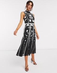 Платье миди с вышивкой и отделкой ASOS DESIGN-Многоцветный