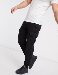 Черные брюки карго с широкими штанинами Topman-Черный