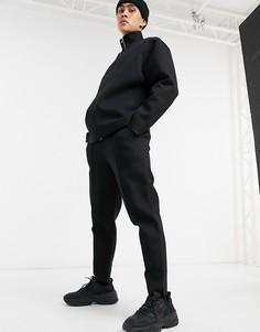 Черные суженные книзу джоггеры с простроченной стрелкой и без манжетов от комплекта ASOS DESIGN-Черный
