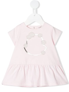 Moncler Enfant платье с логотипом и цветочной аппликацией