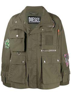 Diesel куртка в стиле милитари с нашивками