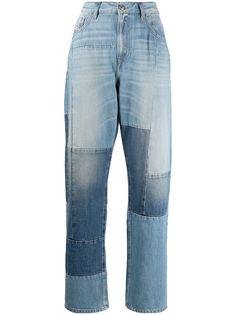 Diesel укороченные джинсы в технике пэчворк