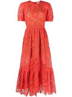Self-Portrait кружевное платье миди