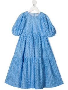 Caroline Bosmans ярусное платье с цветочной аппликацией