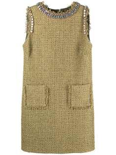 Blumarine твидовое платье без рукавов
