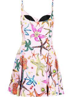 Versace расклешенное платье мини с принтом Trésor De La Mer