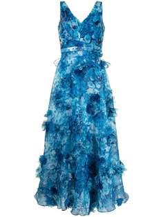 Marchesa Notte платье с V-образным вырезом и аппликацией