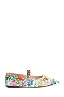 Балетки с цветочным принтом Gucci