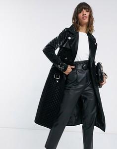 Черное стеганое пальто в стиле милитари из искусственной кожи River Island-Черный
