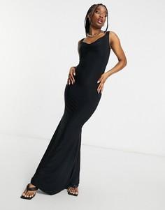 Черное платье макси с юбкой годе и вырезом сердечком Club L London-Черный