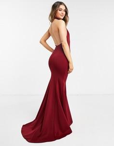 Платье макси винного цвета асимметричного кроя с открытыми плечами True Violet Black Label-Красный