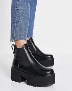 Черные массивные ботинки челси на каблуке Lamoda Tough Love-Черный