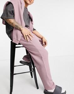 Свободные джоггеры из вафельного трикотажа с фиксированным нижним краем от комплекта ASOS DESIGN-Розовый цвет
