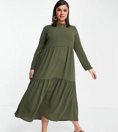 Ярусное платье миди цвета хаки с присборенной юбкой и длинными рукавами ASOS DESIGN Curve-Зеленый