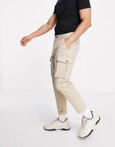 Свободные суженные книзу брюки карго цвета экрю Selected Homme-Белый