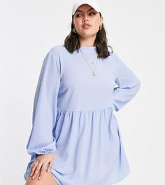 Бледно-голубое платье мини с длинными рукавами ASOS DESIGN Curve-Голубой