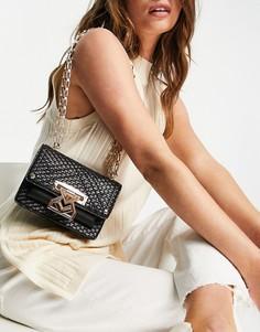 Черная сумка-сэтчел из искусственной кожи с плетеным узором и золотистой цепочкой River Island-Черный