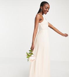 Светло-розовое плиссированное платье макси для подружки невесты с запахом TFNC Tall-Белый