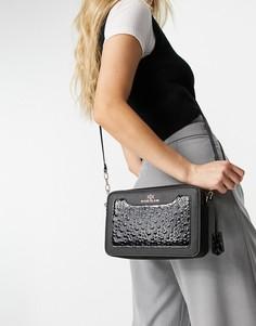 Черная сумка через плечо с лакированным тиснением и монограммой River Island-Черный цвет