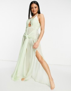 Мятно-зеленое пляжное платье макси из шифона с драпировкой и узлом ASOS DESIGN-Зеленый цвет