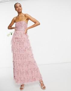 Ярусное платье макси розового цвета с отделкой Maya-Розовый