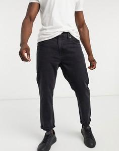 Голубые джинсы прямого кроя в стиле 90-х с контрастными штанинами Bershka-Черный цвет