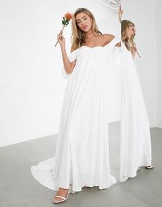 Свадебное платье со сборками и драпировкой на рукавах ASOS EDITION Jasmine-Белый