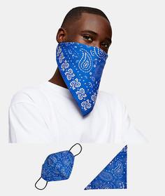 Маска для лица и бандана темно-синего цвета с принтом пейсли Topman Roman Kemp-Голубой