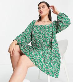 Ярусное зеленое платье мини А-силуэта с цветочным принтом и присборенной юбкой ASOS DESIGN-Многоцветный