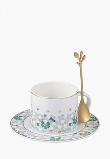"""Чашка с блюдцем Decogallery и ложкой """"Абстракция"""""""