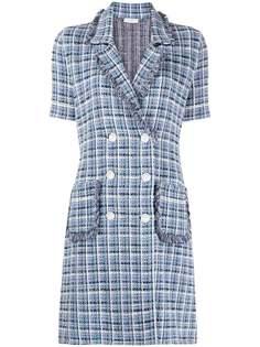 Sandro Paris двубортное твидовое платье в клетку