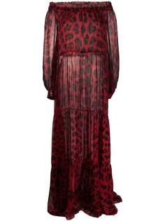 Philipp Plein платье с леопардовым принтом и открытыми плечами