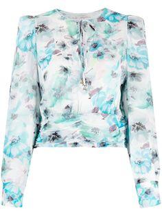 Patrizia Pepe блузка с цветочным принтом и объемными плечами