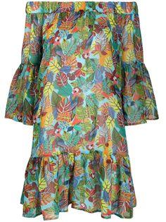LIU JO платье с открытыми плечами и принтом