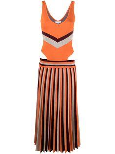 Gabriela Hearst полосатое платье с плиссировкой