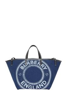 Синяя сумка-тоут из денима с логотипом Burberry