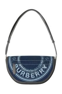 Миниатюрная синяя сумка из денима и кожи Olympia Burberry