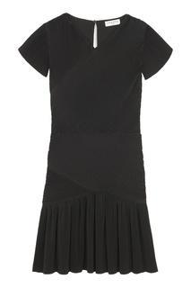 Черное плиссированное платье-мини Sandro