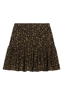 Черная юбка с золотым принтом Sandro