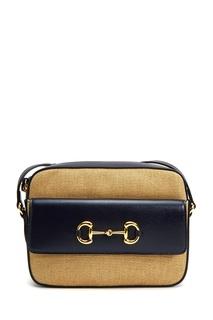 Бежевая хлопковая сумка с синей отделкой Gucci