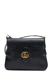Черная кожаная сумка-трапеция Gucci