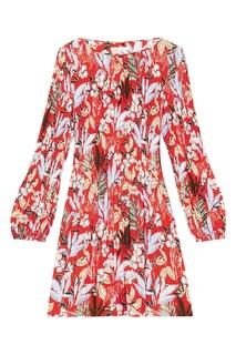 Платье с цветочным принтом в плиссировку Maje