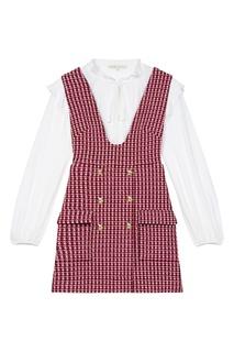 Комбинированное платье-мини Maje